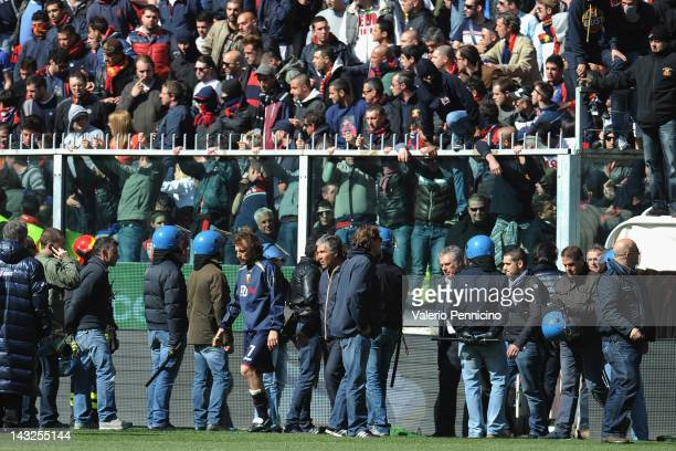 Supporters of Genoa CFC contest the team during the Serie A match between Genoa CFC and AC Siena at Stadio Luigi Ferraris on April 22 2012 in Genoa...