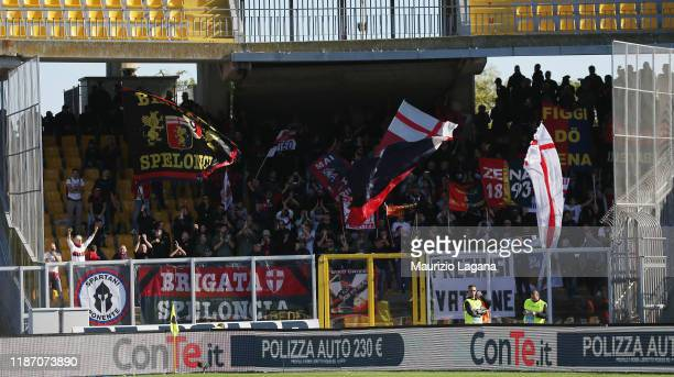 Supporters of Genoa during the Serie A match between US Lecce and Genoa CFC at Stadio Via del Mare on December 8, 2019 in Lecce, Italy.