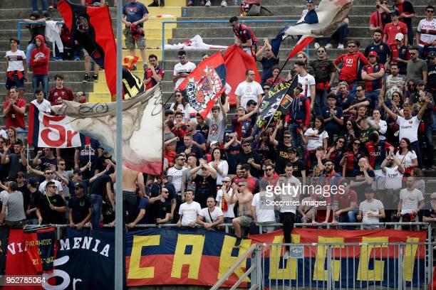 supporters of Genua during the Italian Serie A match between Atalanta Bergamo v Genoa at the Stadio Atleti Azzurri d Italia on April 29 2018 in...