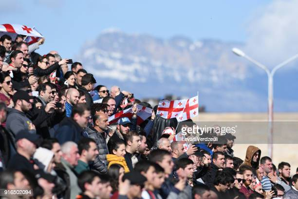 Supporters of Georgia wave flags during the Rugby Europe Championship round 1 match between Georgia and Belgium at Aia Arena on February 10 2018 in...