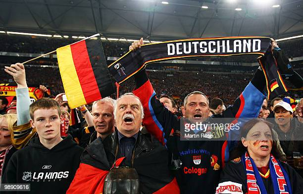 Supporters of Germany cheer during the IIHF World Championship group D match between USA and Germany at Veltins Arena on May 7 2010 in Gelsenkirchen...