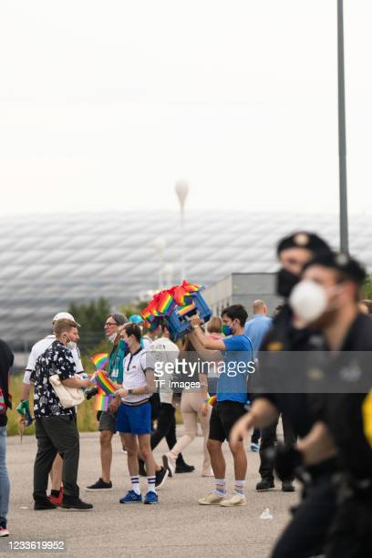 Supporters of Germany with Pride Flags prior to the UEFA Euro 2020 Championship Group F match between Germany and Hungary at Football Arena Munich on...