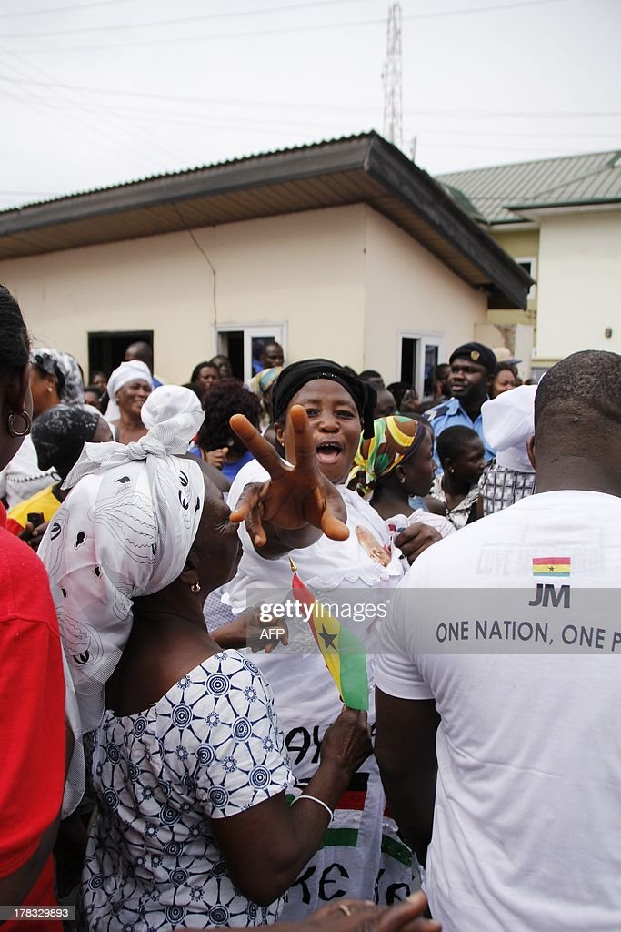 Supporters of Ghana's president demonstrate in front of the NDC ruling party headquarters after it upheld president John Dramani Mahama's win in elections last year, dismissing the opposition's case alleging voter fraud in a test for one of Africa's most stable democracies, on August 29, 2013 in Accra.