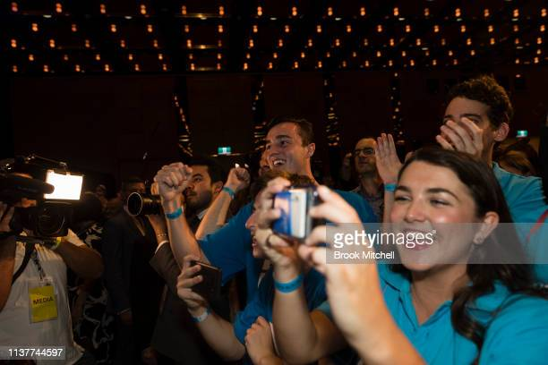 Supporters of Gladys Berejiklian celebrate her win at Sofitel Wentworth on March 23 2019 in Sydney Australia The 2019 New South Wales state election...