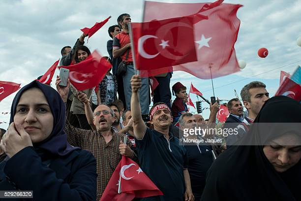 Supporters of governing AKP during a rally marking the 562nd anniversary of the conquest of Istanbul by the Ottoman Army President Erdogan addressed...