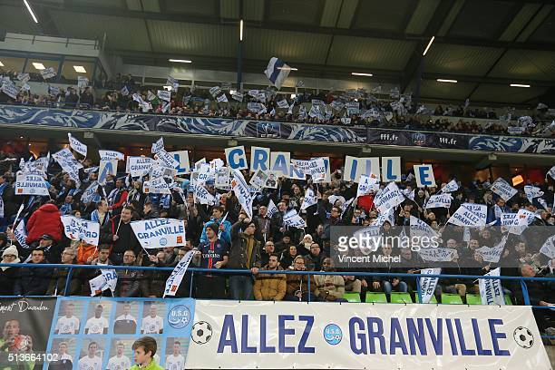 Supporters of Granville during the French Cup game between US Granville V Olympique de Marseille at Stade Michel D'Ornano on March 3 2016 in Caen...