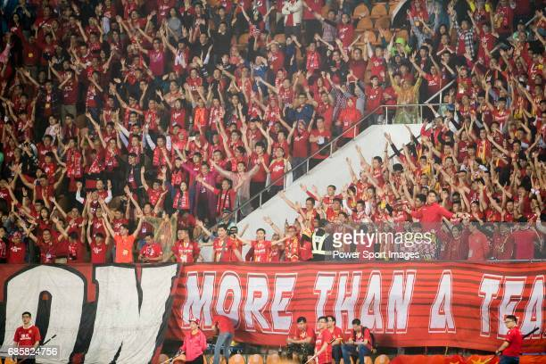 Supporters of Guangzhou Evergrande FC during their AFC Champions League 2017 Match Day 1 Group G match between Guangzhou Evergrande FC and Eastern SC...