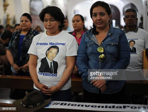 Supporters of Guatemalan former President Alfonso Portillo take part in a mass of thanksgiving for the upcoming return of their leader, in Guatemala...
