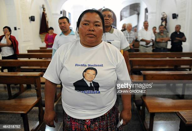 Supporters of Guatemalan former President Alfonso Portillo take part in a thanksgiving mass for the upcoming return of their leader, in Guatemala...