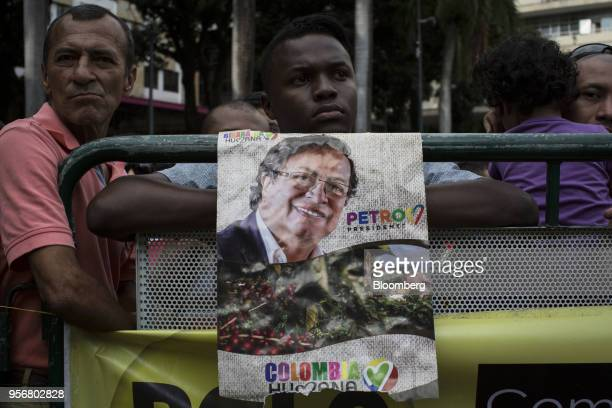 Supporters of Gustavo Petro presidential candidate for the Progressivists Movement Party attend a campaign rally in Pereira Colombia on Wednesday May...