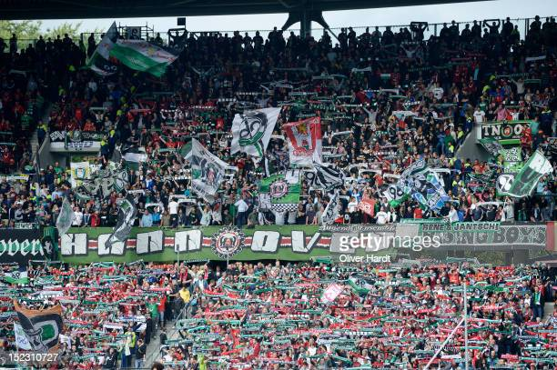 Supporters of Hannover beforee the during the 1 Bundesliga match between Hannover 96 and Werder Bremen at AWD Arena on September 15 2012 in Hannover...