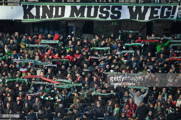 Supporters of Hannover show a protest banner against 96 president Martin Kind during the Bundesliga match between Hannover 96 and Borussia...