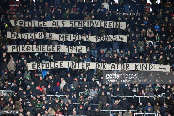Supporters of Hannover show a protest banner against president Martin Kind during the Bundesliga match between Hannover 96 and Borussia...