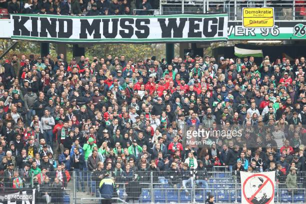 Supporters of Hannover voice their opinion against Martin Kind chairman of Hannover before the Bundesliga match between Hannover 96 and Borussia...