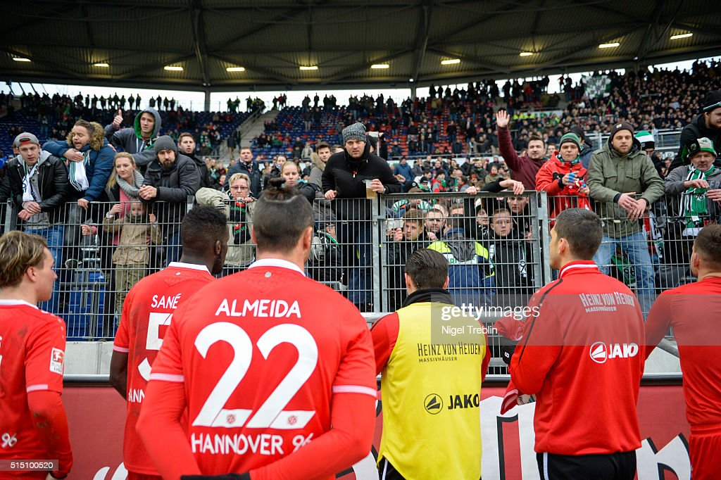 Supporters of Hanover react after the Bundesliga match between Hannover 96 and 1. FC Koeln at HDI-Arena on March 1, 2016 in Hanover, Germany.