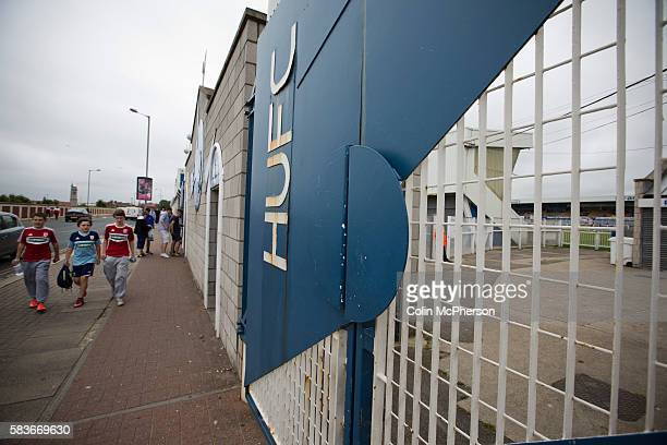 Supporters of Hartlepool United and Middlesbrough making their way towards the main entrance at the Victoria Ground Hartlepool before the preseason...