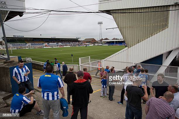 Supporters of Hartlepool United enjoying a prematch drink inside the Victoria Ground Hartlepool before the preseason friendly between the home team...