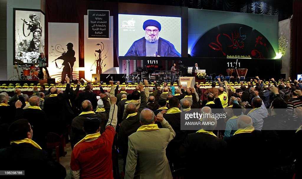 Supporters of Hassan Nasrallah, the head of Lebanon's militant Shiite Muslim movement, cheer as the watch him speak during a televised address at a rally marking the party's Martyrs' Day in southern Beirut, on November 12, 2012.