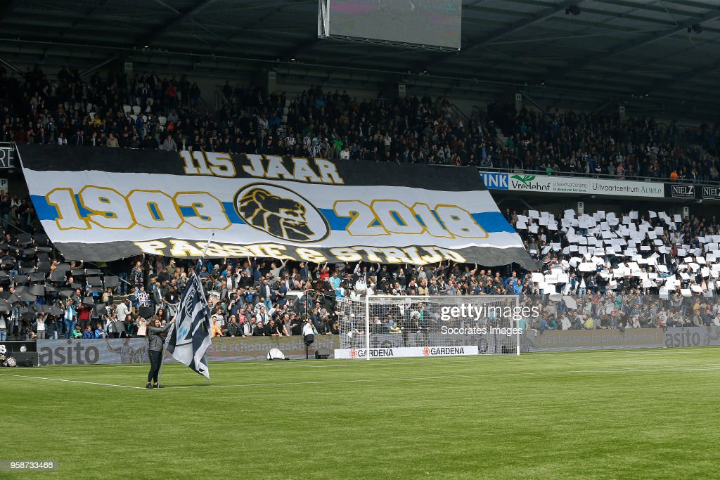supporters of Heracles Almelo during the Dutch Eredivisie match between Heracles Almelo v FC Utrecht at the Polman Stadium on April 29, 2018 in Almelo Netherlands