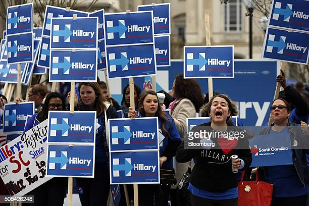 Supporters of Hillary Clinton former Secretary of State and 2016 Democratic presidential candidate not pictured cheer before the Democratic...