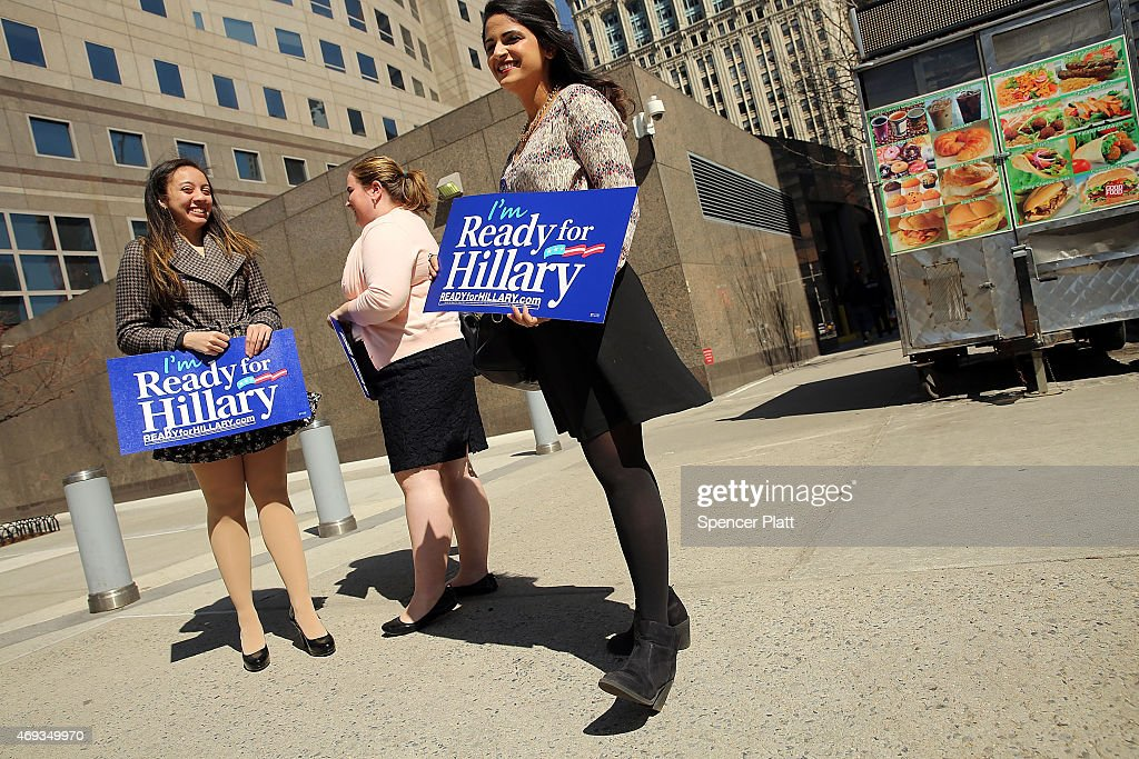 Supporters of Hillary Rodham Clinton's yet to be announced presidential campaign participate in a rally in Manhattan on April 11, 2015 in New York City. It is expected that Clinton will end months of speculation and launch her anticipated 2016 presidential campaign on Sunday with an announcement on social media. Following that it is believed that candidate Clinton will travel to Iowa and New Hampshire, seeking to connect directly with voters in more intimate settings.