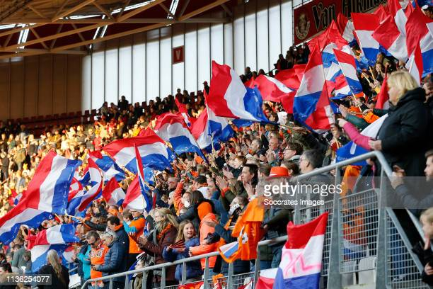 supporters of Holland during the International Friendly Women match between Holland v Chile at the AFAS Stadium on April 9 2019 in Alkmaar Netherlands