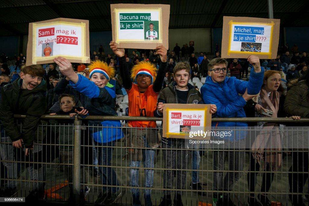 supporters of Holland U21 during the match between Holland U21 v Belgium U21 at the De Vijverberg on March 22, 2018 in Doetinchem Netherlands