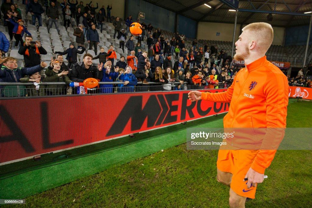 supporters of Holland U21, Rick van Drongelen of Holland U21 during the match between Holland U21 v Belgium U21 at the De Vijverberg on March 22, 2018 in Doetinchem Netherlands