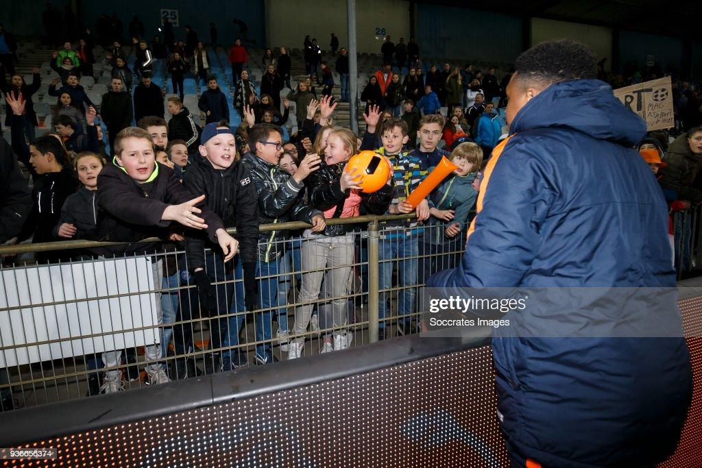 supporters of Holland U21, Steven Bergwijn of Holland U21 during the match between Holland U21 v Belgium U21 at the De Vijverberg on March 22, 2018 in Doetinchem Netherlands