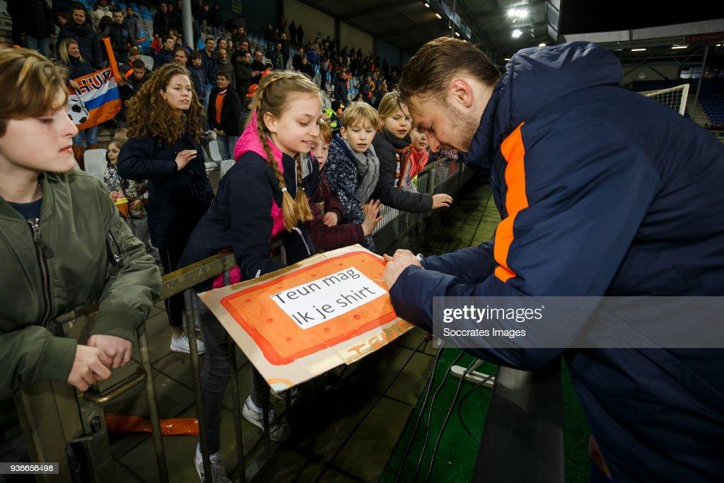 supporters of Holland U21, Teun Koopmeiners of Holland U21 during the match between Holland U21 v Belgium U21 at the De Vijverberg on March 22, 2018 in Doetinchem Netherlands