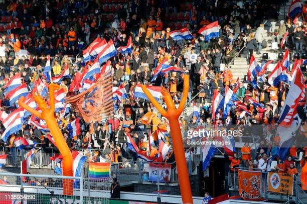 supporters of Holland Women during the International Friendly Women match between Holland v Chile at the AFAS Stadium on April 9 2019 in Alkmaar...