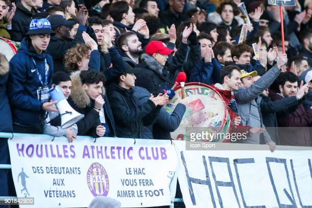 Supporters of Houilles during the french National Cup match between Houilles and Concarneau on January 6 2018 in Houilles France