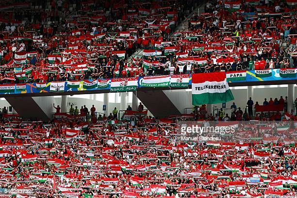 Supporters of Hungary during the UEFA EURO 2016 Group F match between Austria and Hungary at Stade Matmut Atlantique on June 14 2016 in Bordeaux...