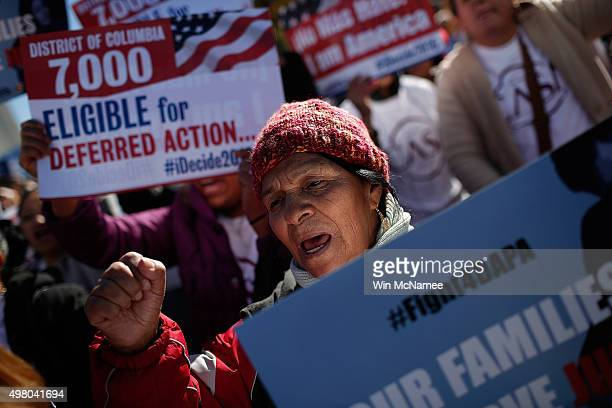 Supporters of immigration reform protest outside the US Supreme Court November 20 2015 in Washington DC The protesters demanded the implementation of...