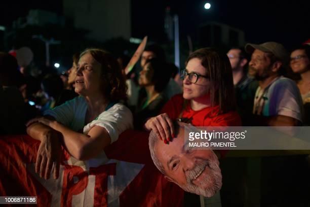 Supporters of imprisoned former Brazilian President Luiz Inacio Lula da Silva attend the 'Lula Livre' Music Festival in Rio de Janeiro Brazil on July...