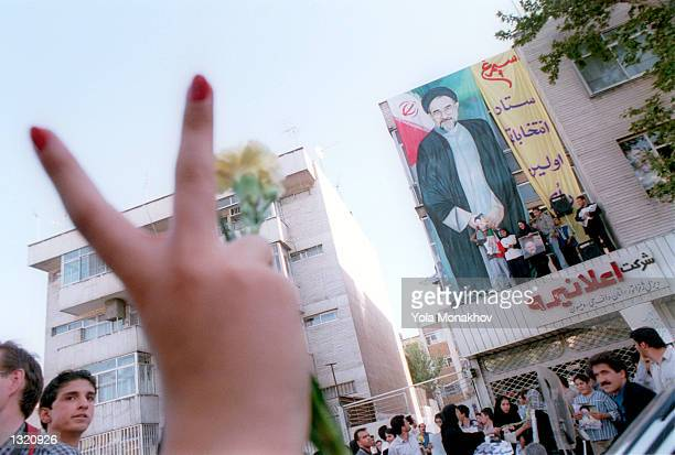 Supporters of incumbent Iranian President Mohammad Khatami hold a rally for what many foresee as a victory for the president a day after the...