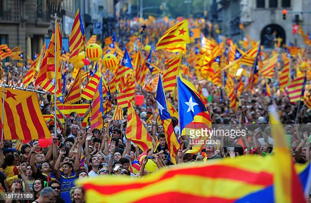 Supporters of independence for Catalonia demonstrate on September 11 2012 in Barcelona to mark the Spanish region's official day amid growing...