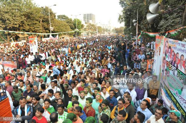 Supporters of Indian Congress during West Bengal Pradesh Congress protest against rally BJP Government and celebrates the party good show in the...