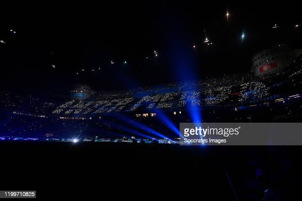 Supporters of Inter Milan during the Italian Serie A match between Internazionale v AC Milan at the San Siro on February 9 2020 in Milan Italy