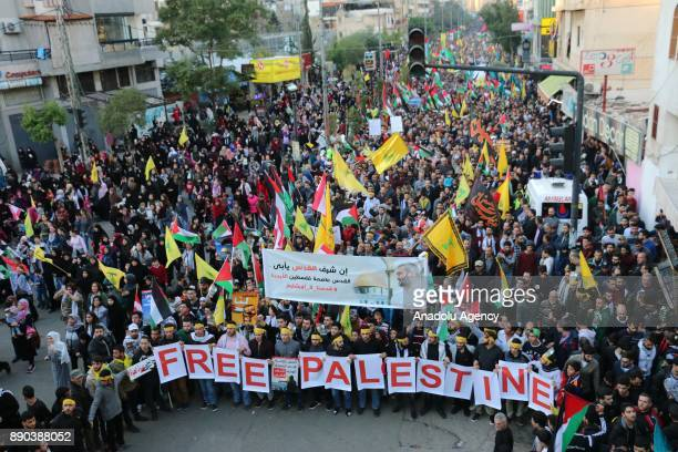 Supporters of Iran backed Hezbollah and Palestinians stage a protest against US President Donald Trump's announcement to recognize Jerusalem as the...