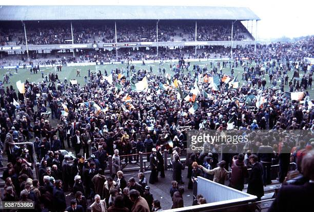 Supporters of Ireland during the World Cup Qualifying match between Ireland and France in Lansdowne Road Dublin Ireland on 30th March 1977