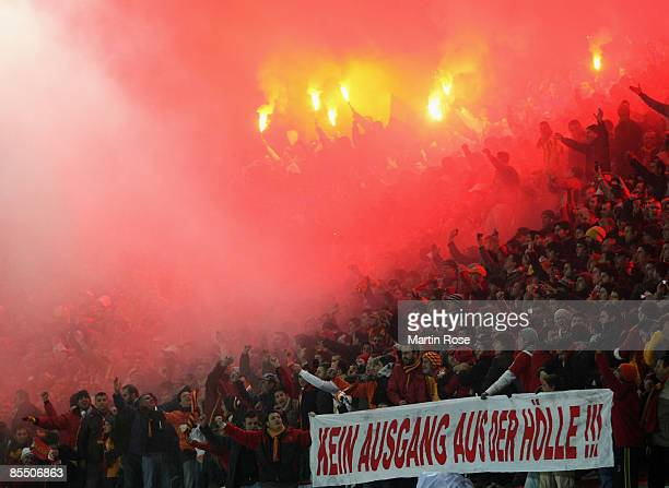 Supporters of Istanbul holding a banner during the UEFA Cup Round of 16 second leg match between Galatasaray Istanbul and Hamburger SV at the Ali...