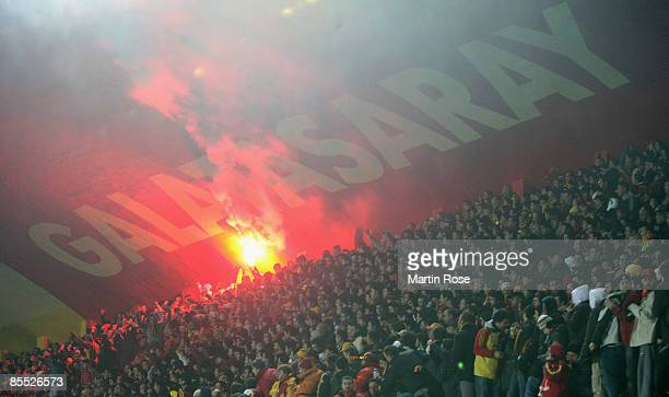 Supporters of Istanbul using fireworks during the UEFA Cup Round of 16 second leg match between Galatasaray Istanbul and Hamburger SV at the Ali Sami...