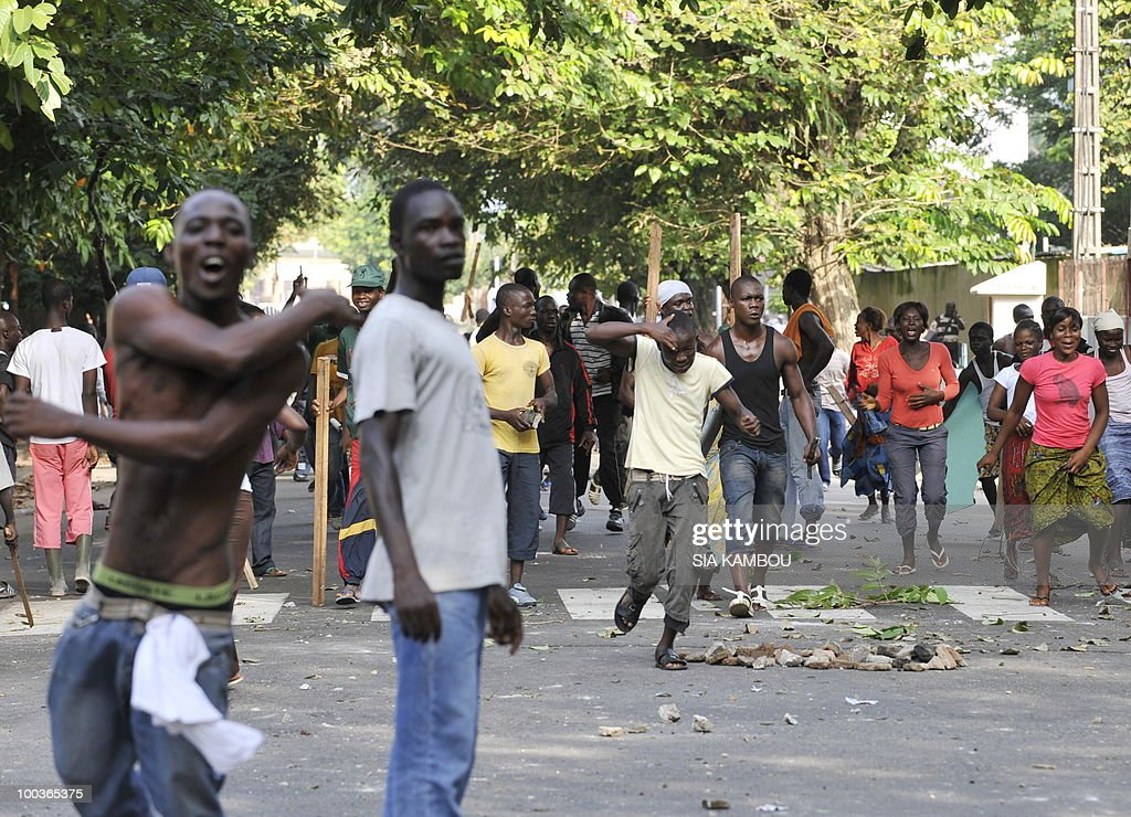 Supporters of Ivory Coast's President Laurent Gbagbo protest on May 24, 2010 against a decision of the municipality of Abidjan to evacuate them from the Plateau business neighborhood of the economic capital. The Plateau neighborhood has been a meeting place for the so-called Patriots for months.