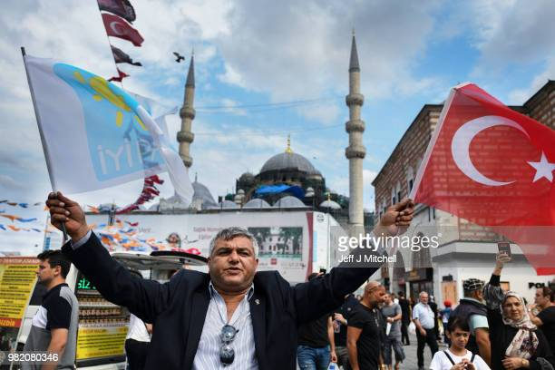 Supporters of Iyi Party campaign in Eminonu on the final day of campaigning in the Turkish elections on June 23 2018 in Istanbul Turkey Presidential...