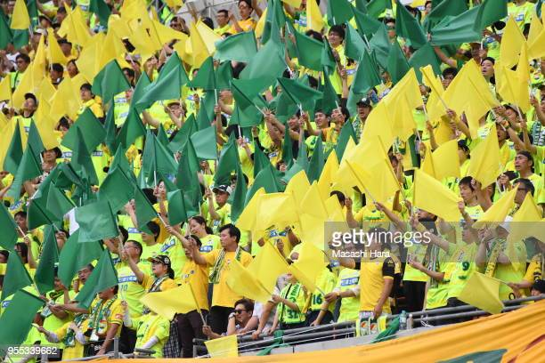 Supporters of JEF United Chiba cheer prior to the JLeague J2 match between Omiya Ardija and JEF United Chiba at Nack 5 Stadium Omiya on May 6 2018 in...