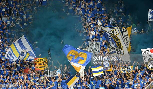 Supporters of Jena during the Third Liga match between Dynamo Dresden and Carl Zeiss Jena on July 31 2010 in Dresden Germany