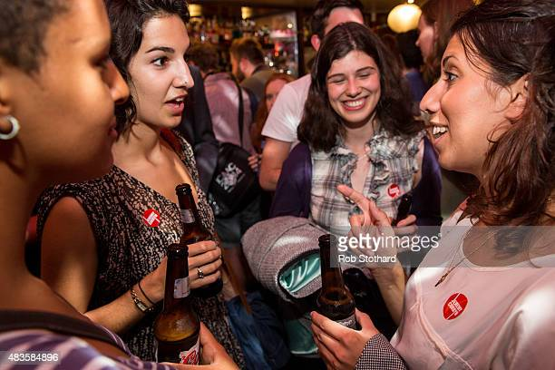 Supporters of Jeremy Corbyn for the Labour Party leadership attend a launch of policy ideas for young people at All Star Lanes on August 10 2015 in...