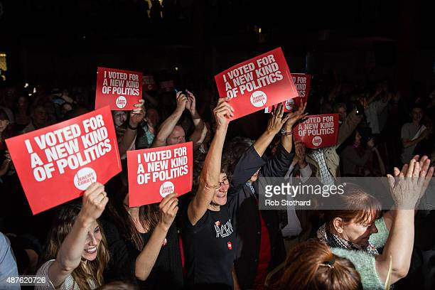 Supporters of Jeremy Corbyn MP for Islington North and candidate in the Labour Party leadership election wave signs during speaches at Rock Tower on...