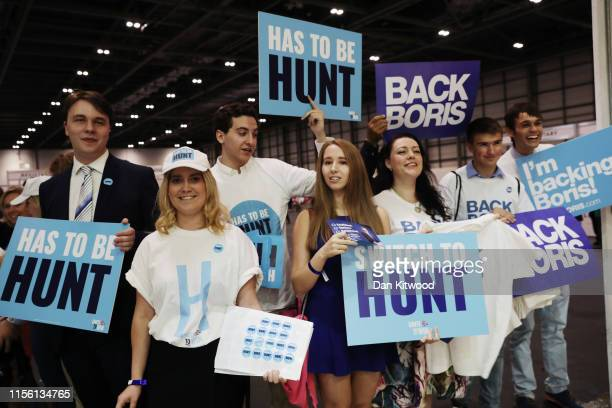 Supporters of Jeremy Hunt and Boris Johnson attend the final hustings of the Conservative leadership campaign at ExCeL London on July 17 2019 in...